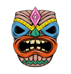 Tiki island traditional mask with big vector