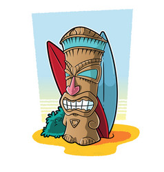 Tiki totem in surf setting vector