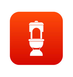 Toilet bowl icon digital red vector