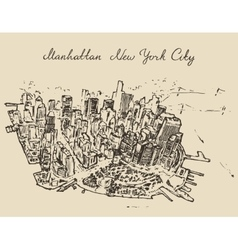 Top view manhattan new york united states sketch vector