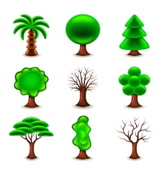Tree forms icons set vector