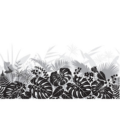 Tropical leaves monochrome pattern vector