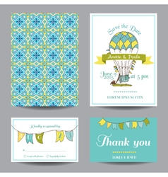 Wedding Invitation Card - Air Balloon Theme vector image