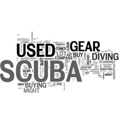 Where to find used scuba gear text word cloud vector