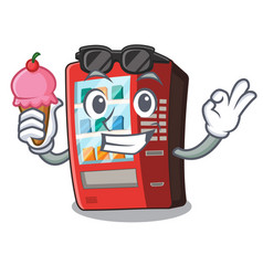 With ice cream vending machine isolated with the vector