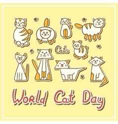 World Cat Day Card with cats on textured vector