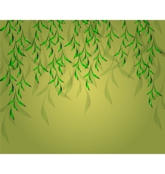 Yellow-green background with green leaves EPS vector image