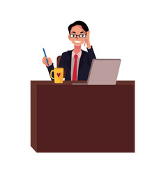 businessman in glasses working at office desk vector image vector image