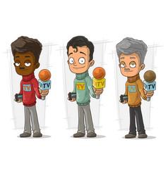 cartoon tv journalist character set vector image