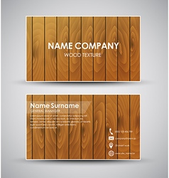Design of the business card with wooden texture vector image vector image
