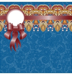 ethnic ornamental pattern with silk ribbon and vector image