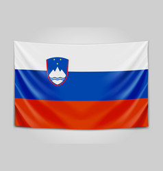 hanging flag of slovenia republic of slovenia vector image vector image