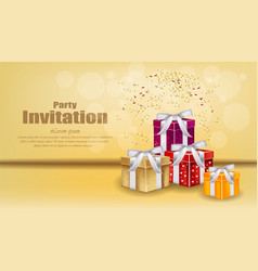 party invitation card with gifts celebrate vector image