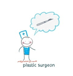 plastic surgeon surgeon thinks of a scalpel vector image