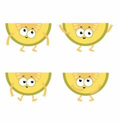 Set cartoon melons vector