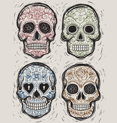 Woodcut Day of the Dead Sugar Skull Set vector image vector image