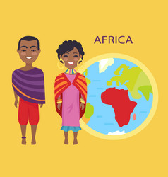 africa on globe and people on vector image