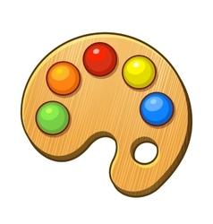 Art Palette Icon with Color Paints vector image