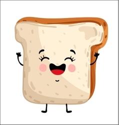 Funny toast bread isolated cartoon character vector image