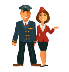 Pilot and hostess together vector