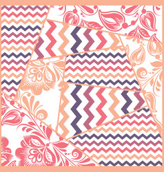 zigzag russian floral seamless pattern vector image vector image