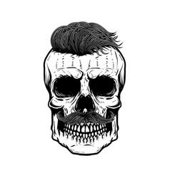 zombie skull isolated on white background design vector image