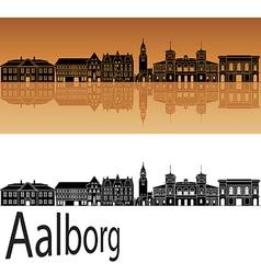 Aalborg skyline in orange vector image vector image