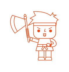 Avatar of a video game warrior with ax vector