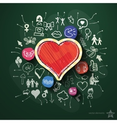 Heart collage with icons on blackboard vector image