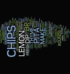 Lemon thyme pita chips text background word cloud vector