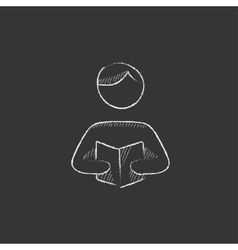 Man reading book Drawn in chalk icon vector image vector image