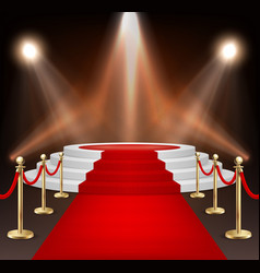realistic red event carpet gold barriers vector image vector image