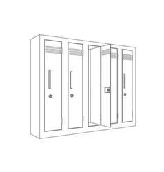 school locker with open door outline icon vector image