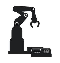silhouette robotic production line mechanic vector image vector image
