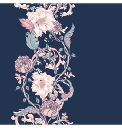 Vintage seamless border with blooming magnolias vector image