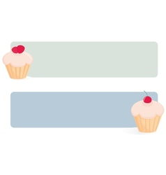Banner set with cupcakes on green and blue vector image vector image