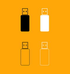 flash drive set black and white icon vector image vector image