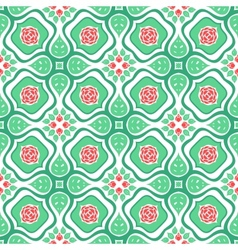 Floral pattern with stylized red roses and leaves vector image