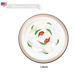 Laksam or Malaysian Wide Rice Noodle Soup vector image vector image