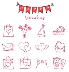 Red icon of valentine day collection vector