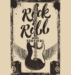 rock and roll music festival poster template vector image vector image