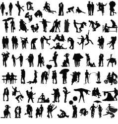 set of silhouettes of couples vector image