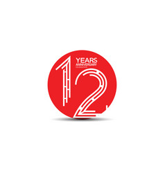 12 years anniversary design with labyrinth style vector