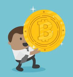 african business achieves a bitcoin he holds a vector image