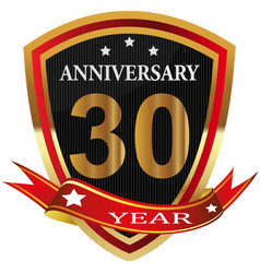 anniversary 30 th label with ribbon vector image