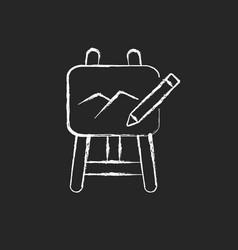 Art chalk white icon on dark background vector