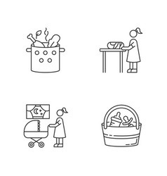 Babysitter service pixel perfect linear icons set vector
