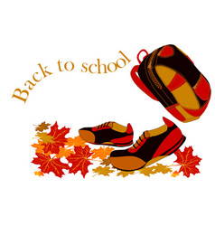 back to school walking boots with autumn leaves vector image