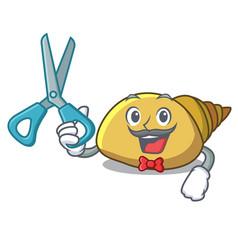 Barber mollusk shell character cartoon vector