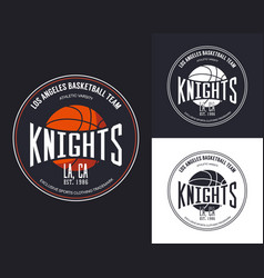 basketball logo for t-shirt design vector image